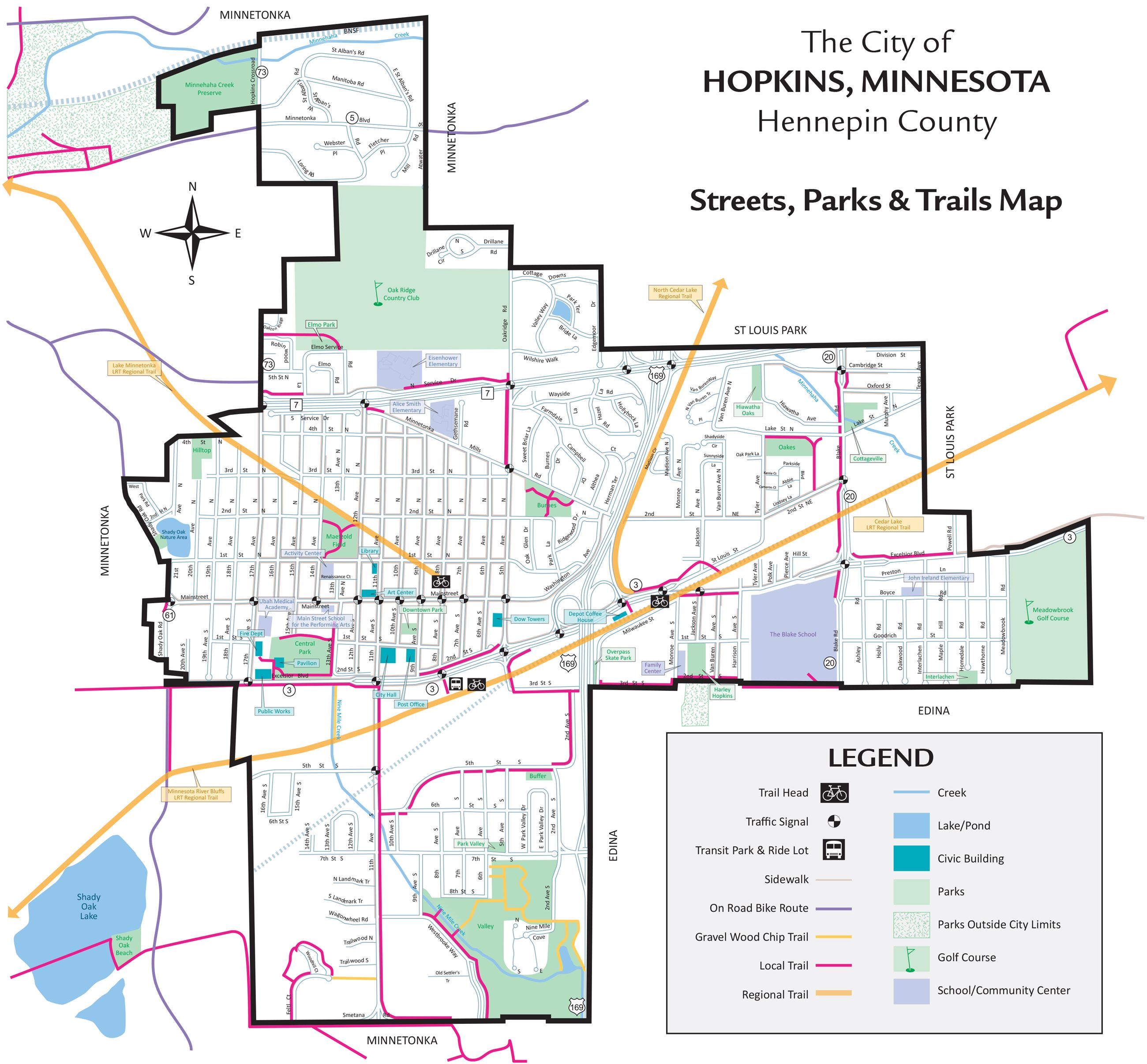 Streets, Parks & Trails Map