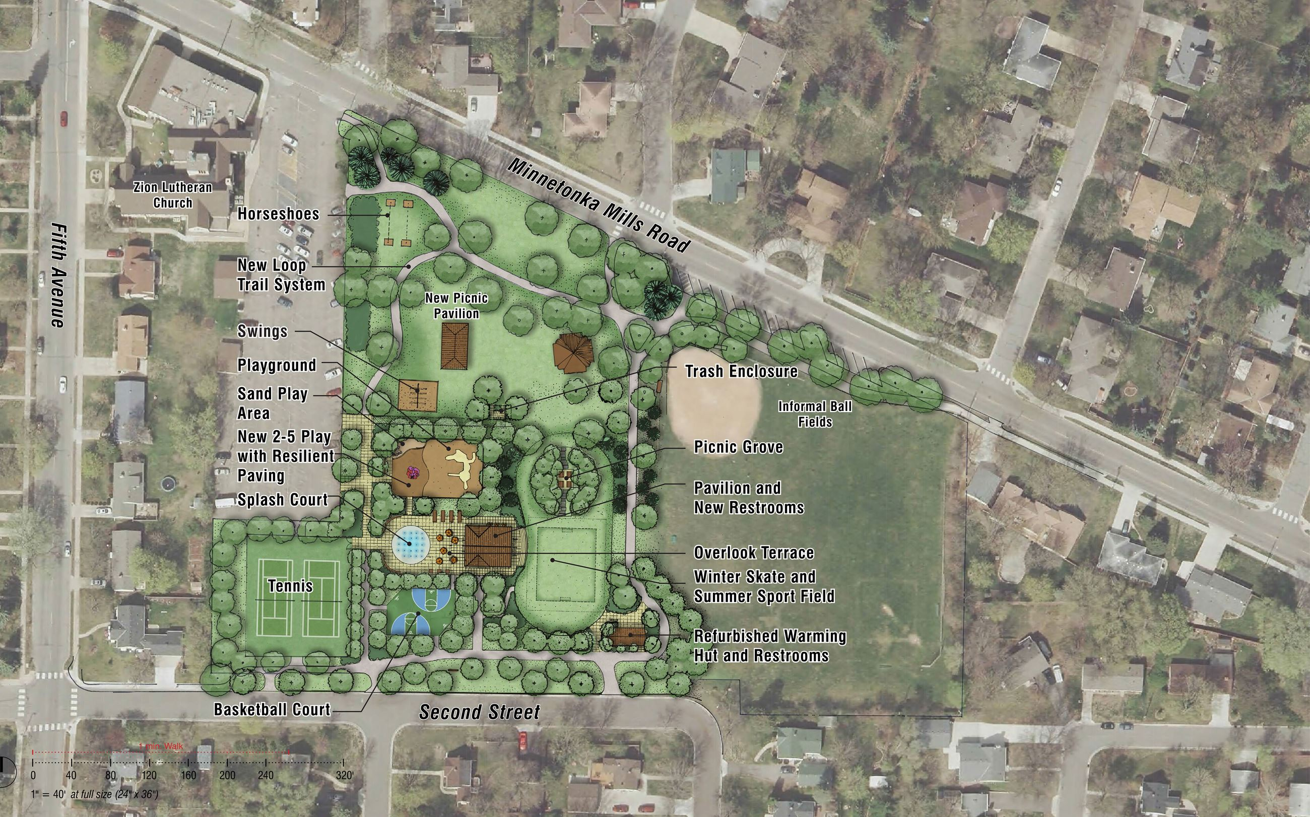 Burnes Park Improvements (2017) Aerial View